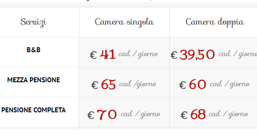 listino prezzi